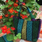 8S Huck weave flowers on tote bag